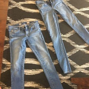 Two pairs of AG Super Skinny 25
